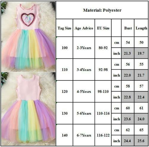 Girls Kids Unicorn Heart Sequin Rainbow Lace Tutu Tulle Skirt Sleeveless Dress