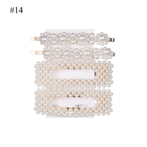 3//4//6//12//13Pcs//Set Women Big Imitation Pearl Beads Hair Clips Simple Barrettes