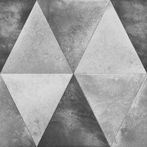 Caden Metallisch Geometrische Tapete Silber - Muriva 152501