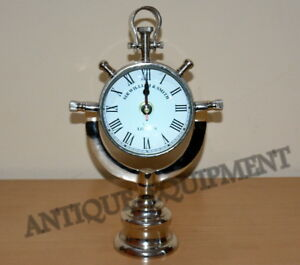 4d4f35a26 Image is loading VINTAGE-ANTIQUE-BRASS-CLOCK-DECORATIVE-DESK-CLOCK-NICKEL-