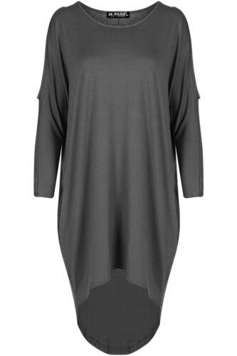 Womens Ladies Cold Cut Out Shoulder Dip Hem High Low Baggy Oversized Mini Dress