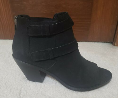Eileen Fisher List Open Toe Ankle Boots Nubuck Bl