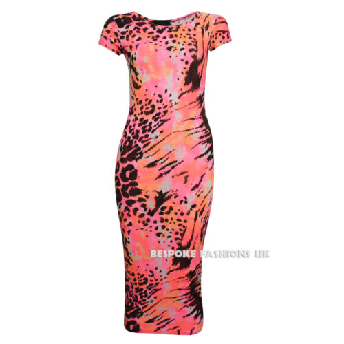 New Women/'s Printed Cap Sleeve Ladies Bodycon Midi Dress Size 8-10 /& 12-14