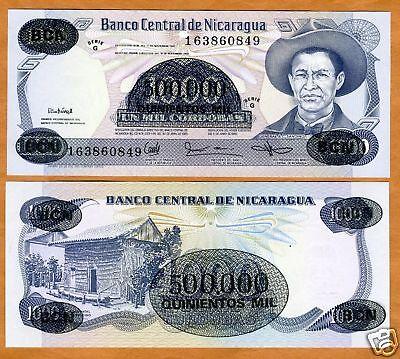 1987 UNC 500,000 on 1000 Cordobas Nicaragua P-150