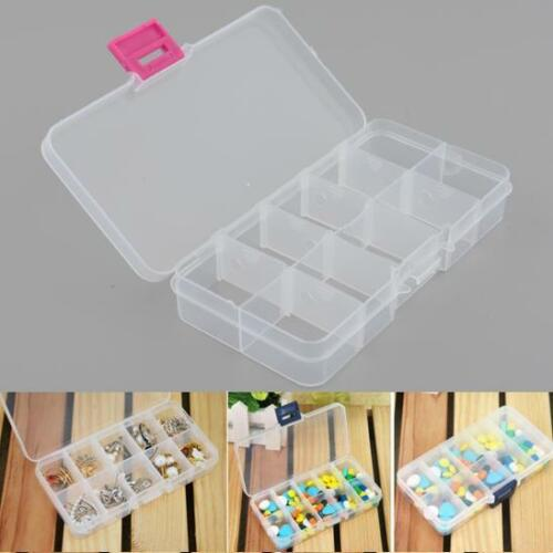 4X Plastic 10 Slots Compartment Adjustable Jewelry Beads Clear Storage Tool Box