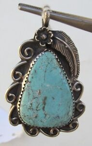 Signed-Sterling-Silver-and-Light-Blue-Turquoise-Pendant-Lots-of-Extra-Details