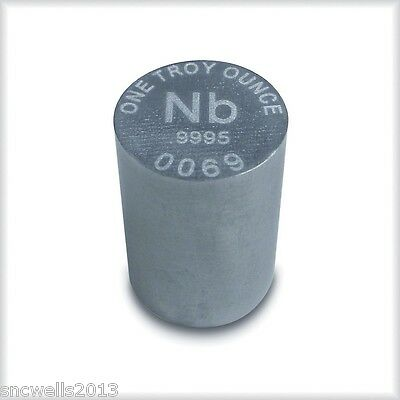 Niobium metal ingot -- one troy ounce -- .9995 bullion -- RWMM -- 1 oz