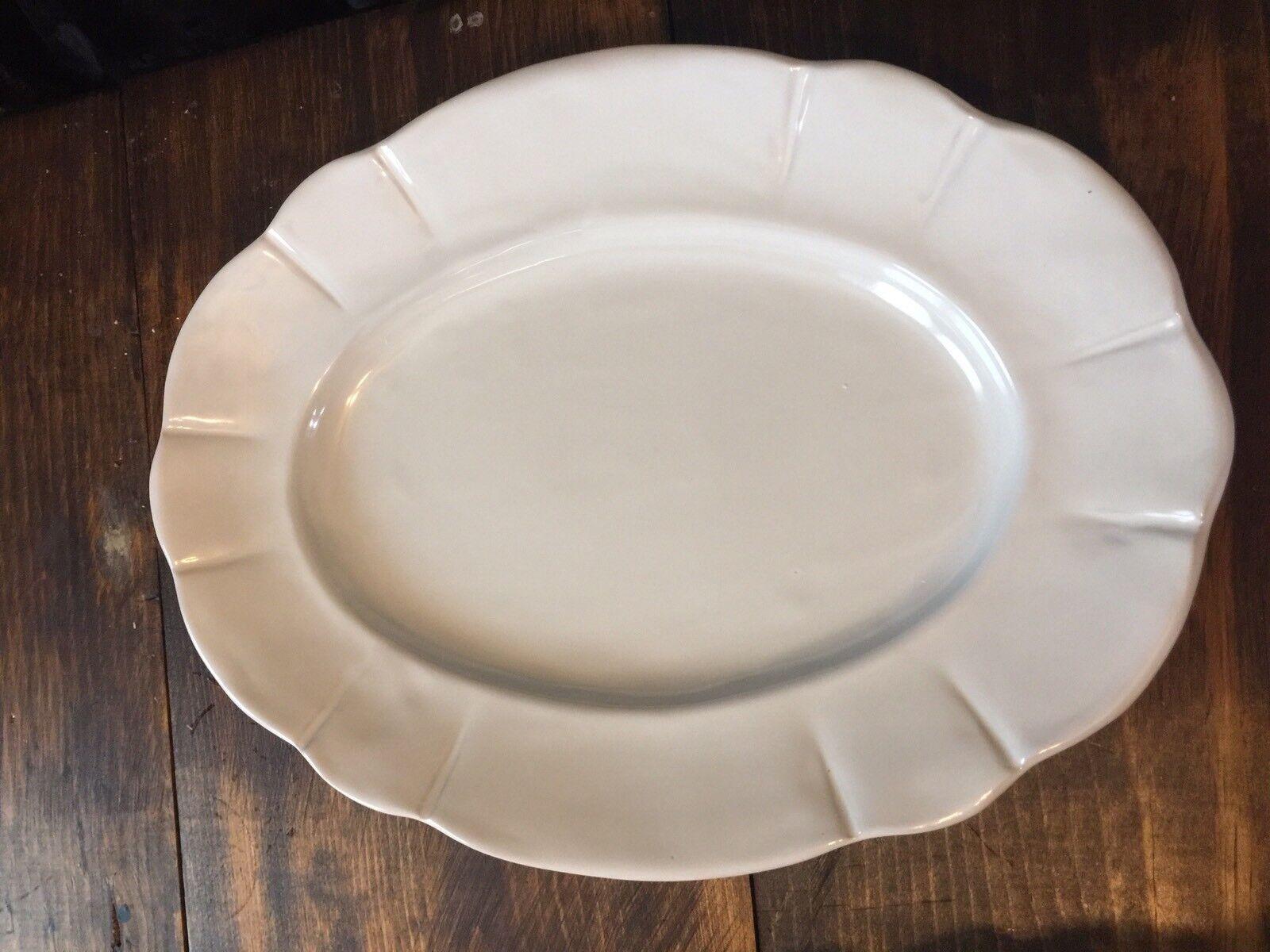 Pottery Barn Colette Oval Scalloped Serving Platter NEW Stone