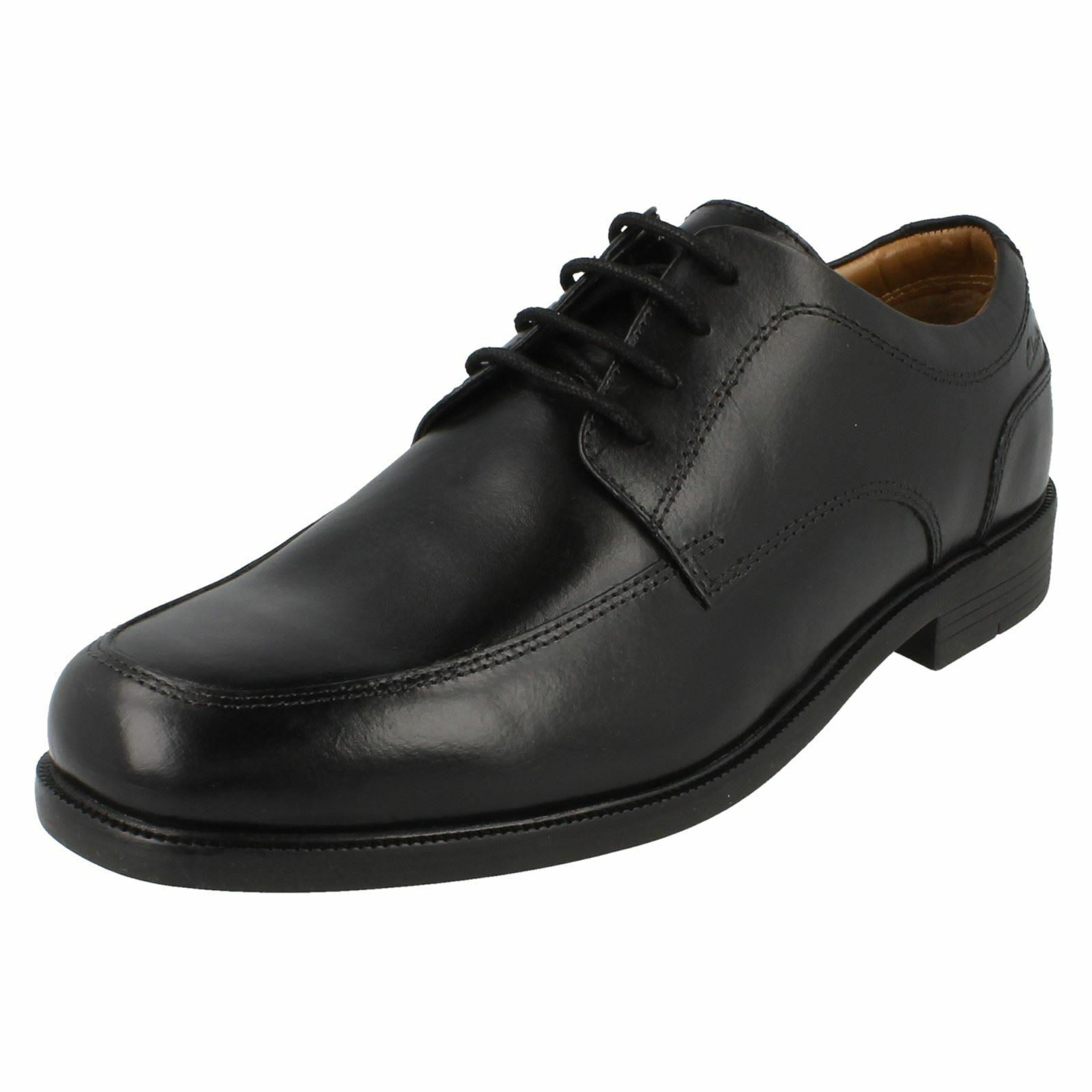 MENS CLARKS BLACK LEATHER EXTRAWIDE FORMAL SMART LACE UP SHOES BEESTON APRON
