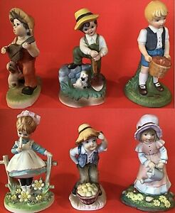 "COUNTRY CHILDREN FIGURINES PORCELAIN LOT OF 6 BOYS AND GIRLS 2 LEFTON 5"" VINTAGE"