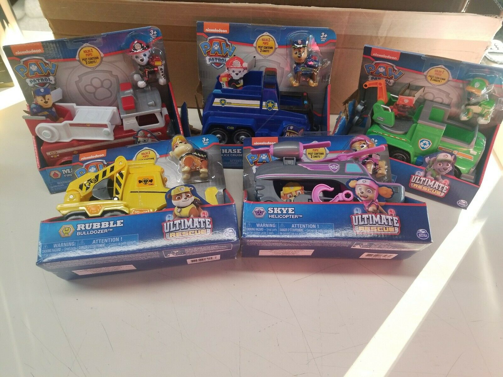 Set of Five NEW Spin Master Ultimate Rescue and Paw Patrol Vehicles DAMAGED BOX