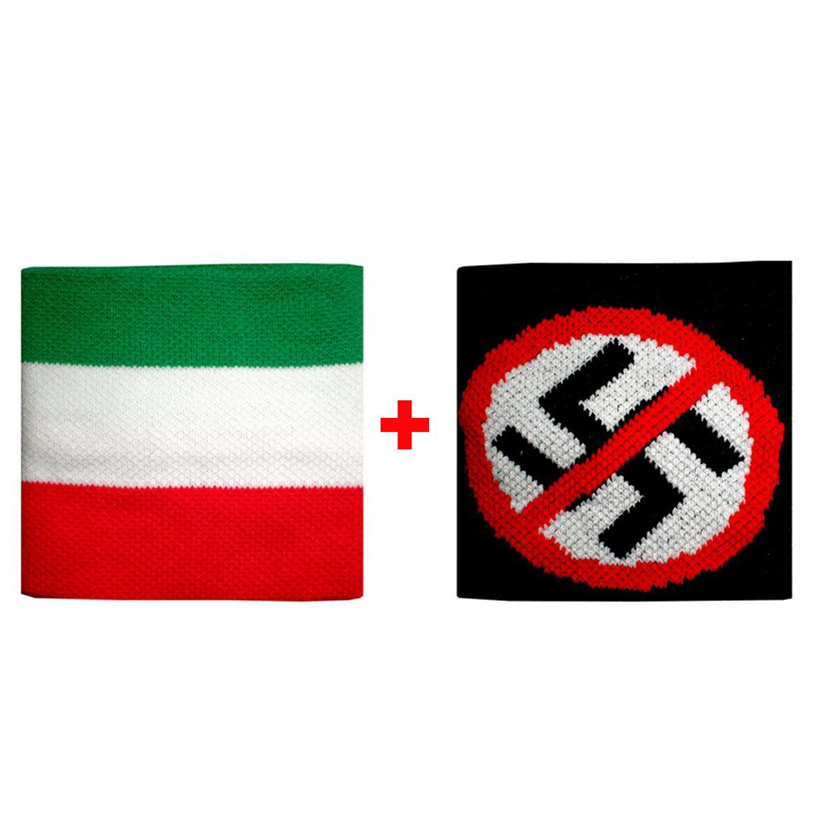 Coppia polsini Italia + in divieto  in + spugna gruppi rock e bandiere 8a7eaa
