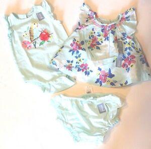baby Gap NWT Girl Aqua Blue Cotton Floral Ruffled Bloomers Shorts