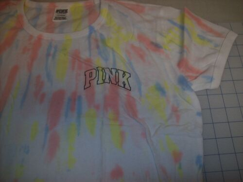 MULTIPLE COLORS SIZE LG NEW IN BAG VICTORIA SECRET CROPPED RINGER TEE TIE DYE