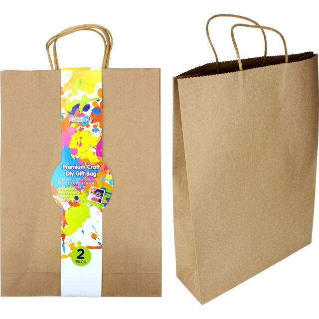 BROWN KRAFT PAPER GIFT BAGS 45CM PK 2 VINTAGE WEDDING BIRTHDAY PARTY SUPPLIES