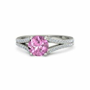 Genuine Diamond Pink Sapphire Round Cut 2.50 Ct 14K White Gold Ring Size M N 1/2