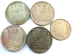 Francia-Lote-de-4-x-10-1930-1938-1-x-1-1920-Plata