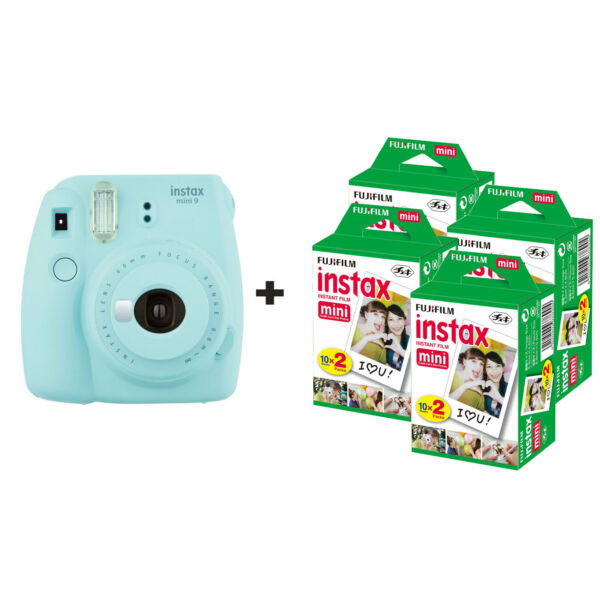 Aimable Fujifilm Instax Mini 9 Instant Camera Avec 80 Coups-ice Blue
