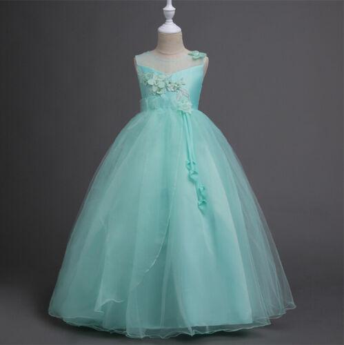 Flower Kid Girls Princess Tulle Layers Wedding Bridesmaid Formal Long Maxi Dress
