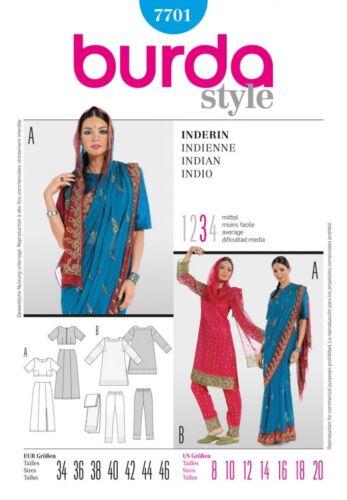 Burda-7701 Burda Ladies Sewing Pattern 7701 Indian Style Sari Outfit