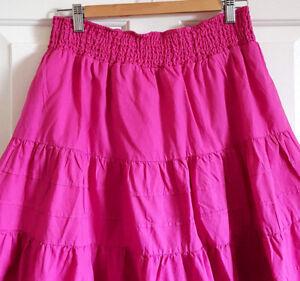 Pink-A-Line-Ruffle-Skirt-Elasticated-Waist-Uk-16-Eu-42-Knee-Length-Twirly-Lined