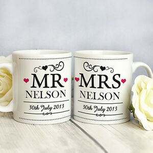 Personalised Wedding Mr /& Mrs Pillar Candle Bride and Groom Gift Mrs /& Mrs