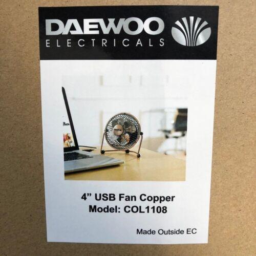 "Laptop Cooling Desk Table Fan Daewoo 4/"" Mini Portable USB Powered Computer PC"