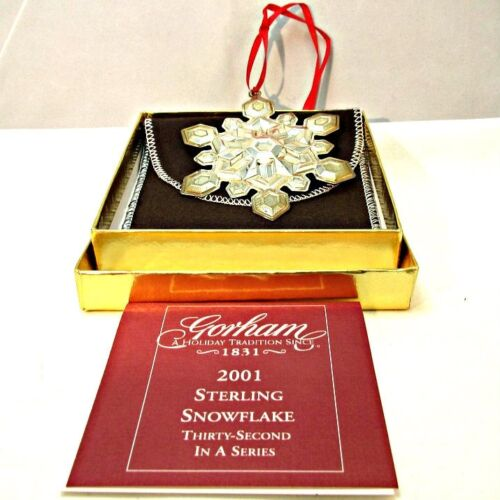 2001 Gorham Sterling Silver Snowflake Christmas Ornament with Original Box and P