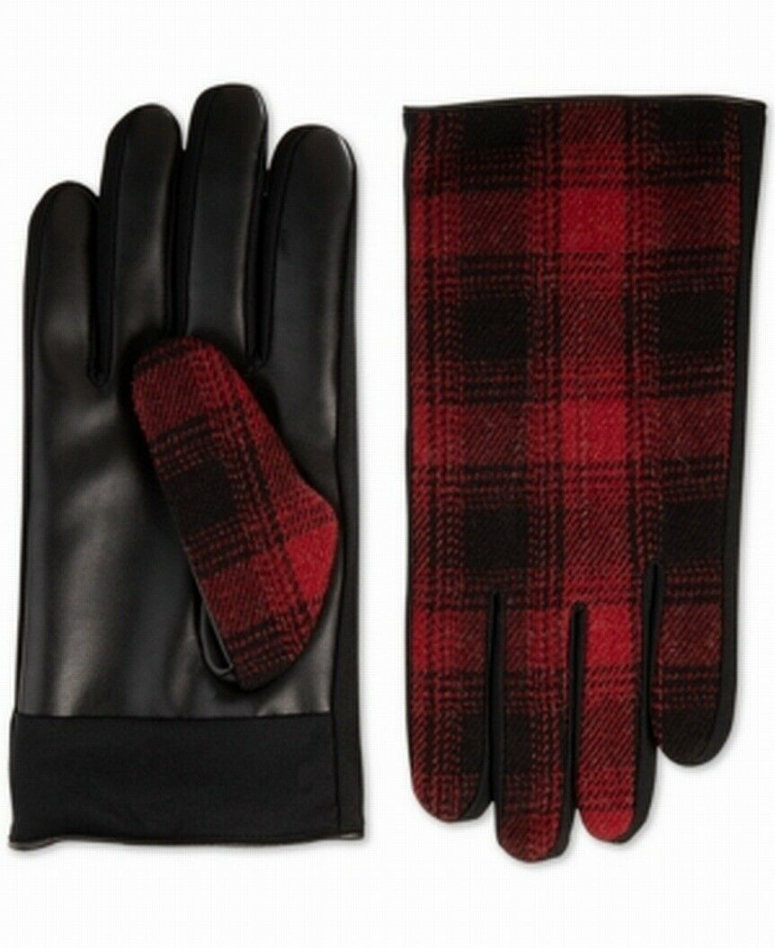 Isotoner Men's Driving Gloves Red Black USA Medium M Faux Leather Plaid 346