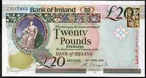 SCARCE Bank of Ireland £20 twenty ZZ REPLACEMENT banknotes Belfast 2008 2013