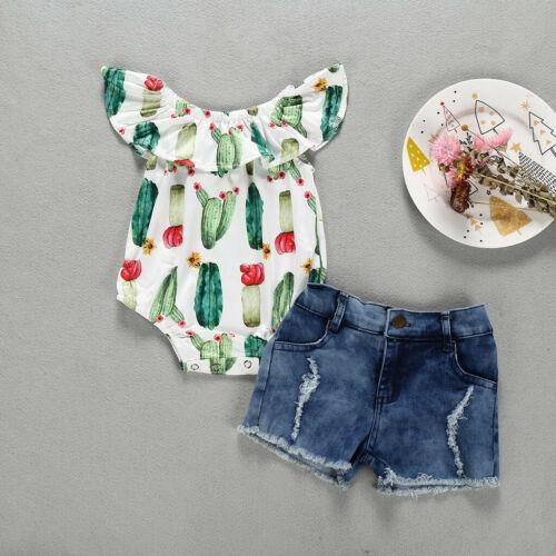 Toddler Kid Baby Girl Summer Sleeveless Romper+Denim Shorts 2PCS Outfits Set US