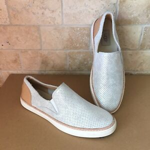f2d83059328 Details about UGG ADLEY PERF STARDUST SILVER SUEDE SLIP-ON SNEAKERS SHOES  SIZE US 6.5 WOMENS