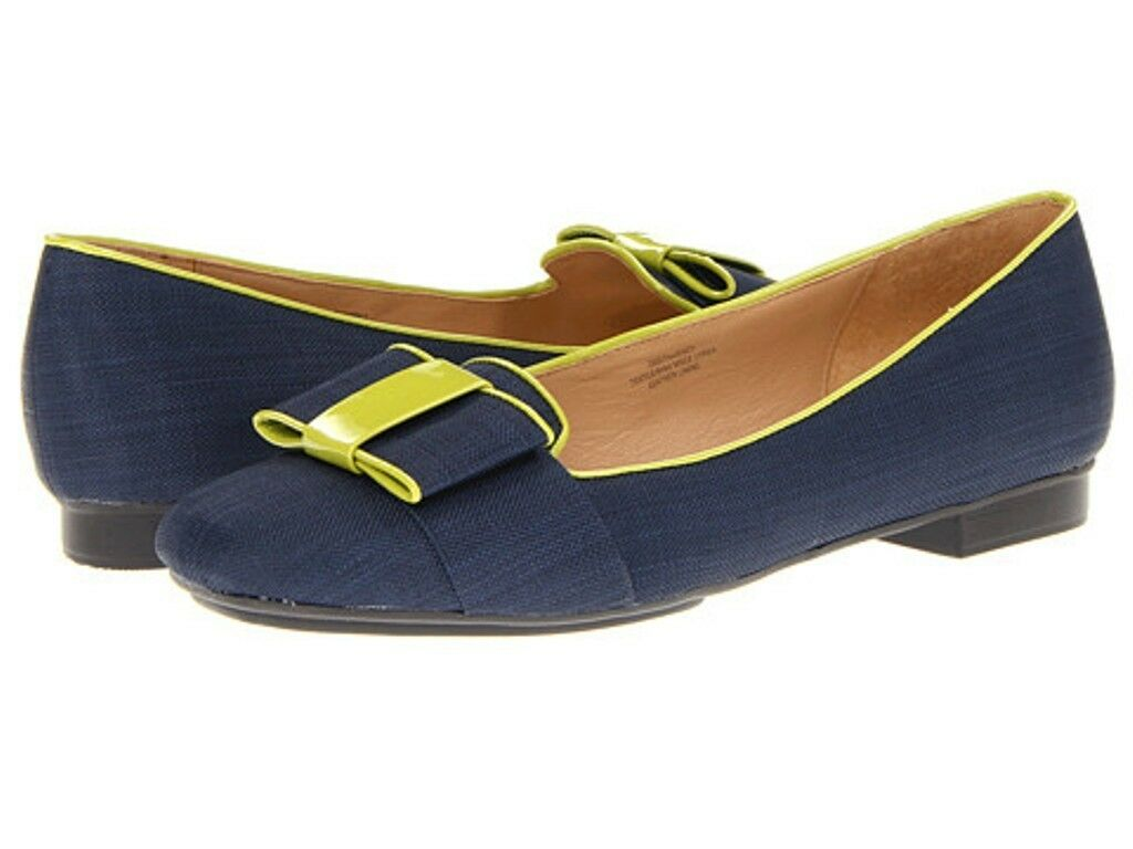 Womens shoes Isaac Mizrahi KATHARINE 3 Flats Loafers Navy Dark bluee Multi Bow