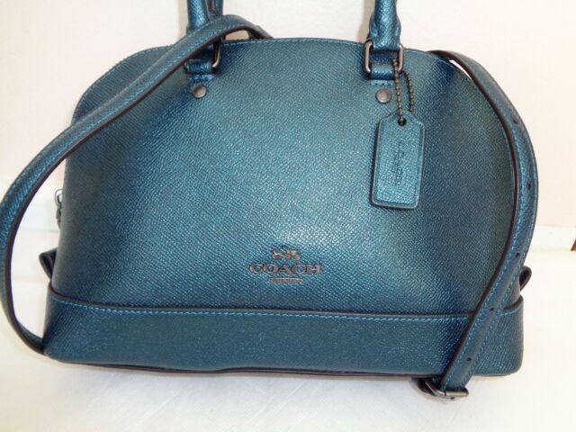 0c0b8a931d464 NEW COACH 22315 METALLIC DARK TEAL CROSSGRAIN MINI LEATHER SATCHEL CROSSBODY  BAG
