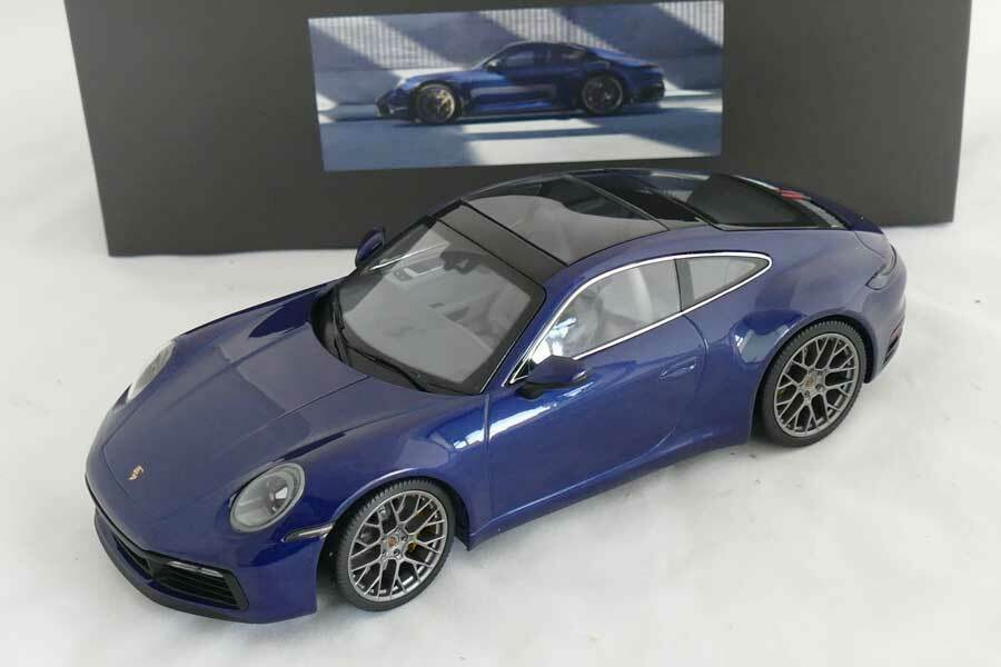 Minichamps 2019 Porsche 911 992 Carrera 4S Coupe blu Dealer Edition 1 18 New