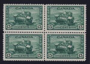 Canada Sc #258 (1942) - 13c Ram Tank Block of 4 Mint VF NH MNH