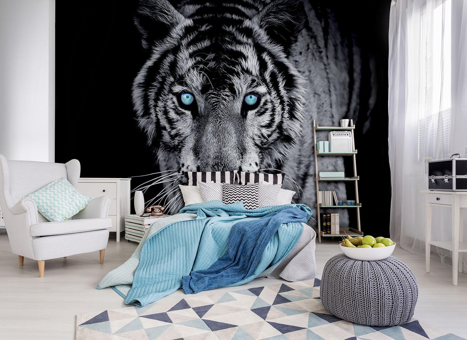 Photo Wallpaper Mural  10202_P Tiger Tiger Animal Blau Eyes Wildness grau