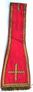 ANCIEN-MANIPULE-ROUGE-VETEMENT-LITURGIQUE-PRETRE-GARMENT-LITURGICAL-PRIEST