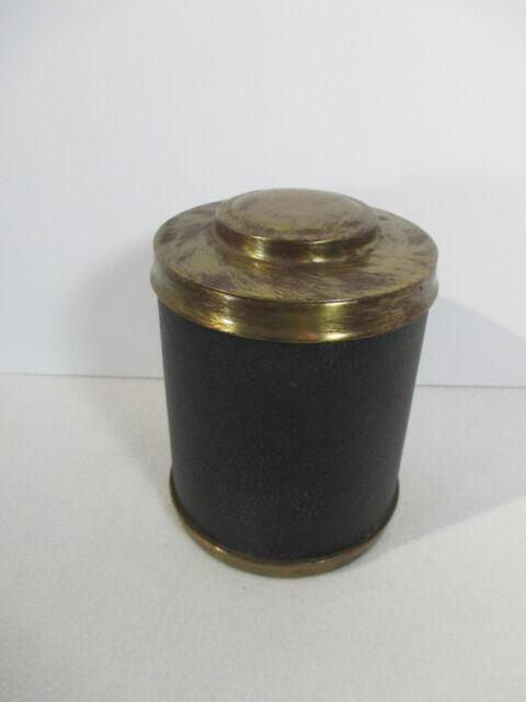 Cigar Humidor Tobacco Cedar Lined Vintage Wet Stone Round Textured Black Vinyl