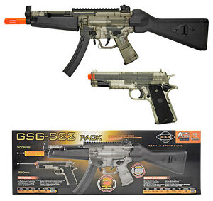 OFFICIAL GSG 522 AEG Electric Airsoft Gun Rifle & 1911 Pistol Kit - Clear Smoke
