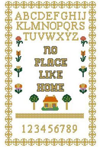 """No Place Like Home puntada cruzada contada Kit Sampler 13,5 """" x 8,5 /"""" 34.3 Cm X21.6 cm"""