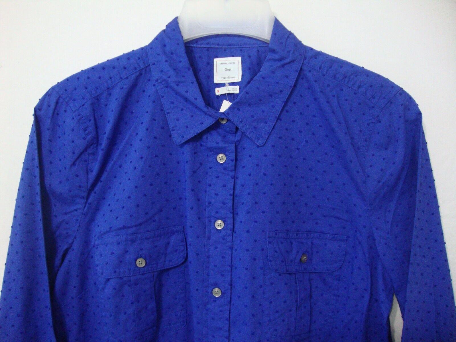 bdddfedfb55601 GAP Women's Medium Fitted Boyfriend Long Sleeve Shirt bluee Polka Dots NWT