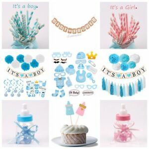 Baby-Shower-Party-Supply-Hanging-Decor-It-039-s-a-Boy-Girl-Banner-Set-Paper-Straws