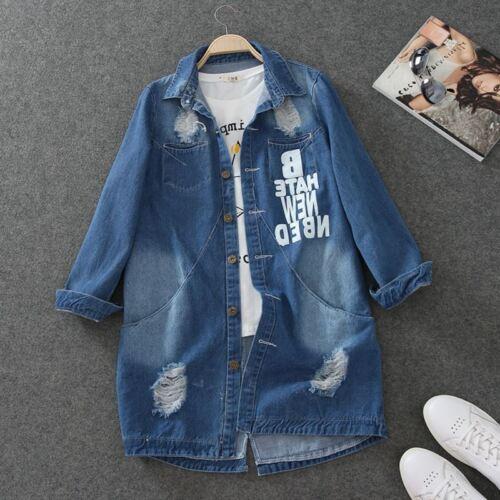 spring Women denim Jeans Tops Broken Hole Washed Denim Jacket Coat trench parka