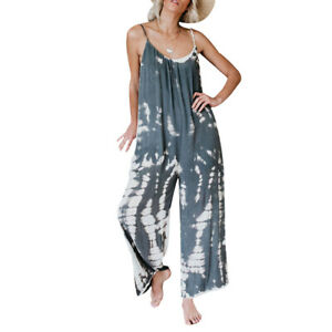 Jumpsuit Sling Suit Loose Sleeveless Playsuit Rompers Wide Leg Trousers Women/'s