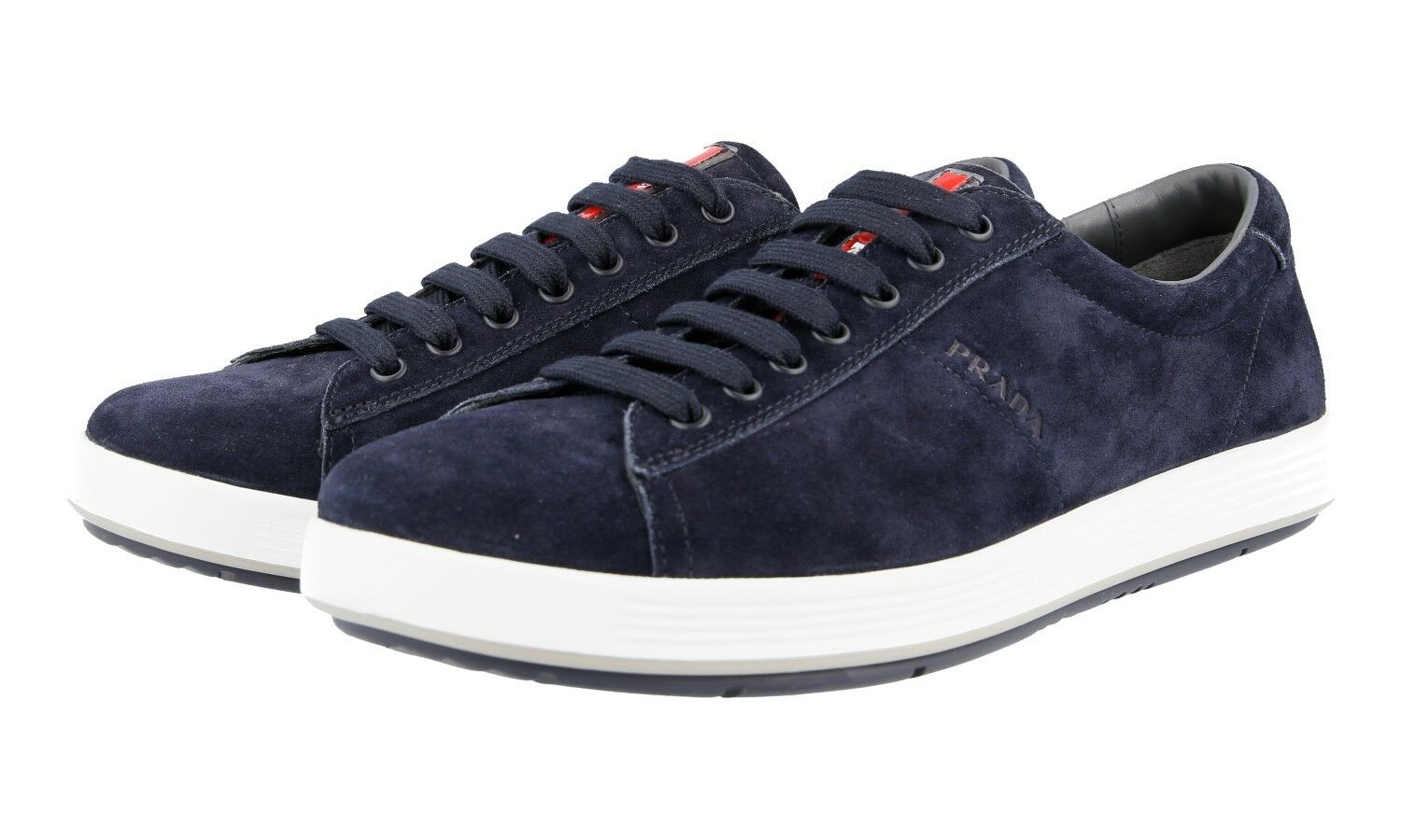 AUTH LUXURY PRADA SNEAKERS SHOES 4E2860 blueE SUEDE NEW 7,5 41,5 42