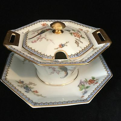 Theodore Haviland Limoges France PARADISE Covered Sugar Bowl, Lid, Plate.  #2467