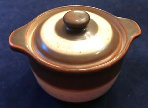 DENBY-Langley-Russet-Small-Covered-Casserole-Dishes-Brown-Beige-Set-of-4-EUC