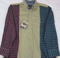 Roper Khaki Red Green Plaid Checks Western Button Front L/s Shirt Mens Sz M
