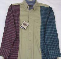 Roper Khaki Red Green Plaid Checks Western Button Front L/s Shirt Mens Sz M